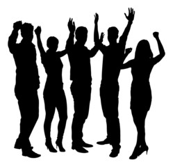 Silhouette Business People With Arms Raised