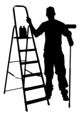 Silhouette Painter Standing With Ladder