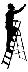 Silhouette Construction Worker Climbing On Ladder