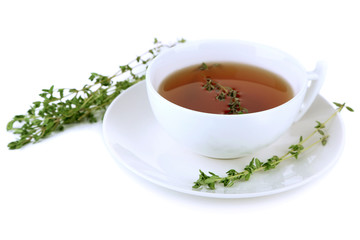 Cup of tasty herbal tea with thyme, isolated on white