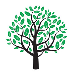 vector tree and green leafs