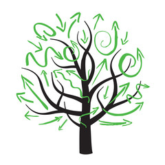 vector tree and green arrows