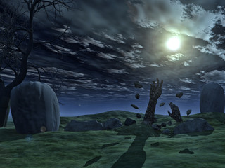 3D Halloween background with zombie hands