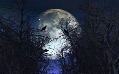 Spooky background with crows in trees against moonlit sky