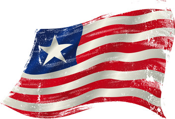 Liberian grunge flag