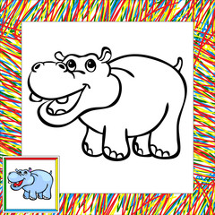 Funny cartoon hippo coloring book