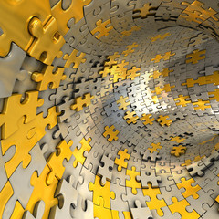 Tunnel made of gold and silver puzzles.