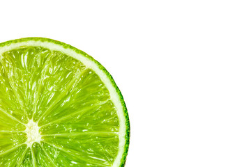 White background with fuit of lime slice