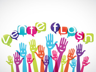 groupe mains souriantes : vente flash