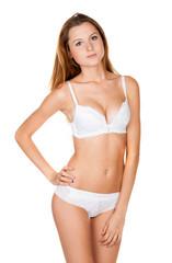 Beautiful slender girl in lingerie