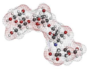 Acarbose diabetes drug molecule. Blocks carbohydrate digestion.