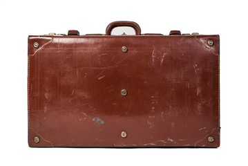 Vintage leather luggage isolated on white background