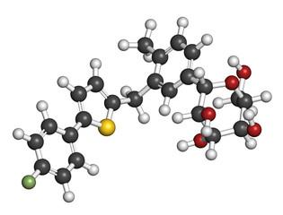 Canagliflozin diabetes drug molecule.