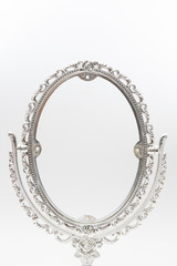 silver makeup mirror isolate