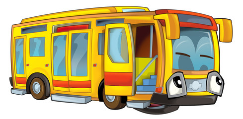 Happy cartoon bus - illustration for the children