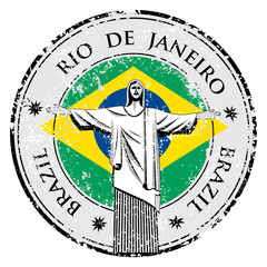 Rio theme stamp with statue of the Christ