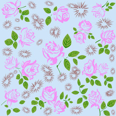 Abstract flowers fabric background.Vector