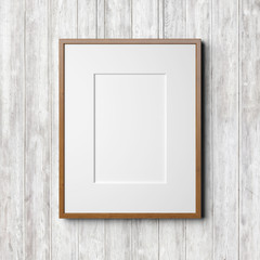 Wooden frame on the white wood background