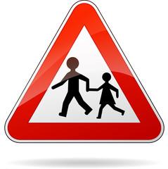 Vector beware pedestrians sign
