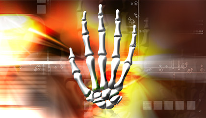 Digital illustration of Hand Skelton with abstract background