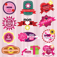 Mother's Day Badges and Labels in Vintage Style. Vector Illustra