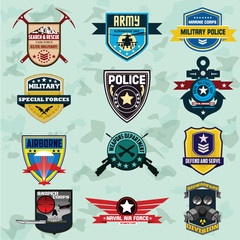 Set of military and armed forces badges and labels logo. Vector