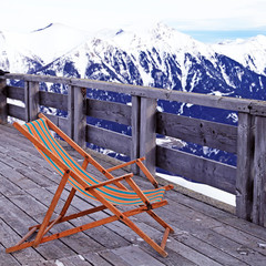 lounge chair at mountain ski resort in Alps, Austria