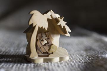 Wooden hand made Christmas crib