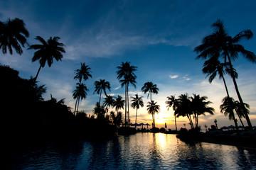 Sunset at beach resort