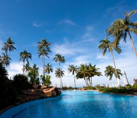 resort hotel pool at sea