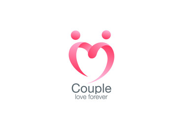 Heart Logo of couple in love vector design. Lovers hold hands