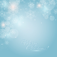 Christmas card with snowflakes and space for text. Vector backgr
