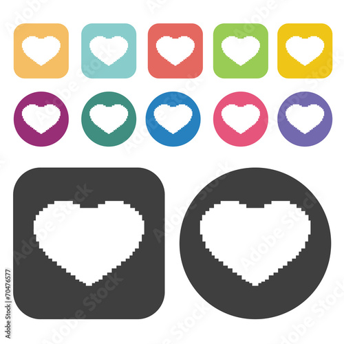 Fat Heart Icon Heart Icon Set Round And Rectangle Colourful 12