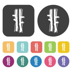 Arteries icon. Human organ icons set. Round and rectangle colour