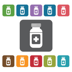 Medicine icon. Medical icons set. Rectangle colourful 12 buttons