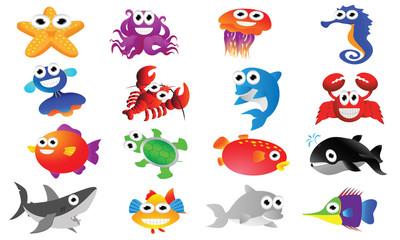 Sea animal cartoon set