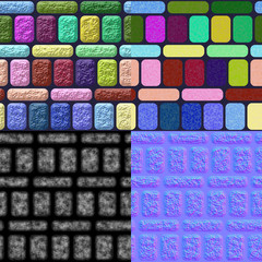 Glazed tiles seamless generated texture (diffuse, bump, normal)