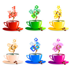 icons set cup coffee color vector illustration