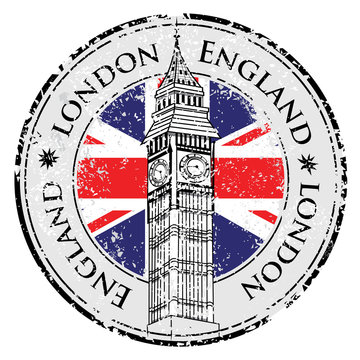 Rubber grunge stamp London Great Britain