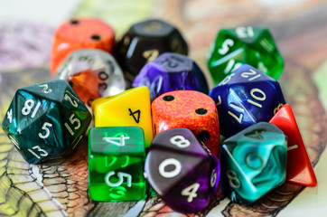 role playing dices lying on picture background
