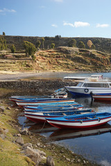 Fotobehang Nepal Boats.Amantani Island in Lake Titicaca, Puno, Peru