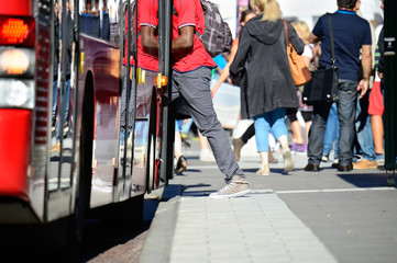 Man enters bus