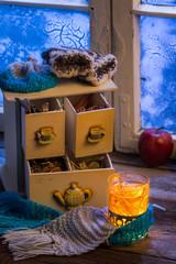 Fototapete - Hot linden tea is the best in winter