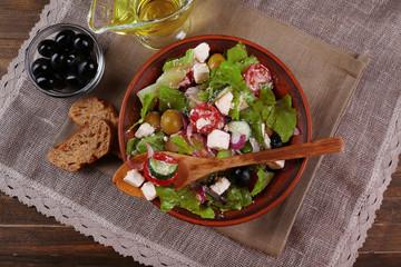 Bowl of Greek salad served