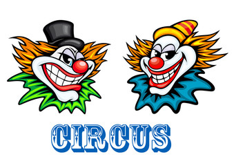 Colorful circus clowns characters