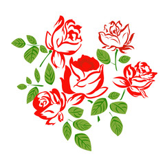 Flowers red roses.Vector