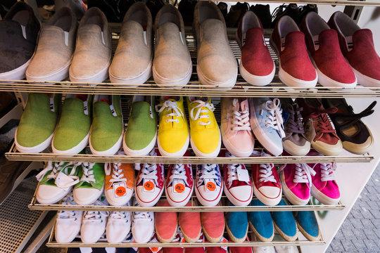 lots of  shoes on sale.  Diverse shoes