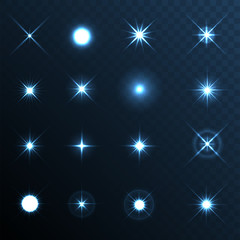 Light Glow Flare Stars Effect Set.