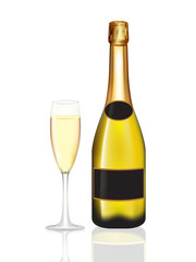 Champagne yellow bottle and champagne glass on white