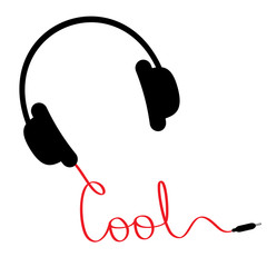Black headphones red cord  word cool. Music card. Flat design.